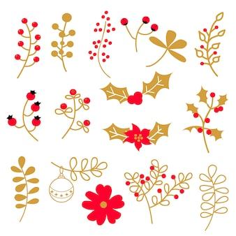 花とクリスマスの要素のセット