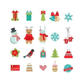 Набор рождественских плоских объектов дизайна.