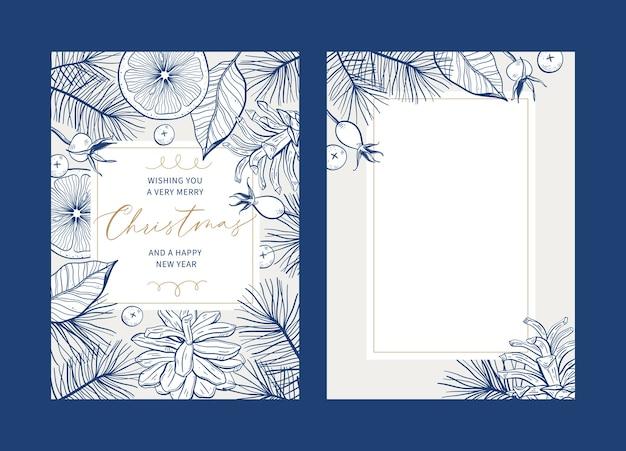 クリスマスの花のグリーティングカードテンプレートのセット