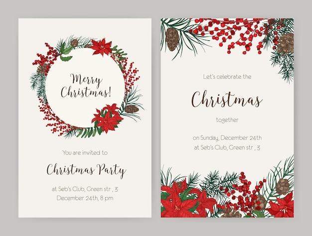 Набор рождественских флаеров или шаблонов приглашений на вечеринку, украшенных ветками и шишками хвойных деревьев, листьями и ягодами падуба, пуансеттия