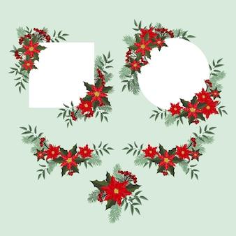 포인세티아 장식의 크리스마스 프레임 및 테두리 세트
