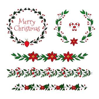 Набор рождественских рамок и бордюров