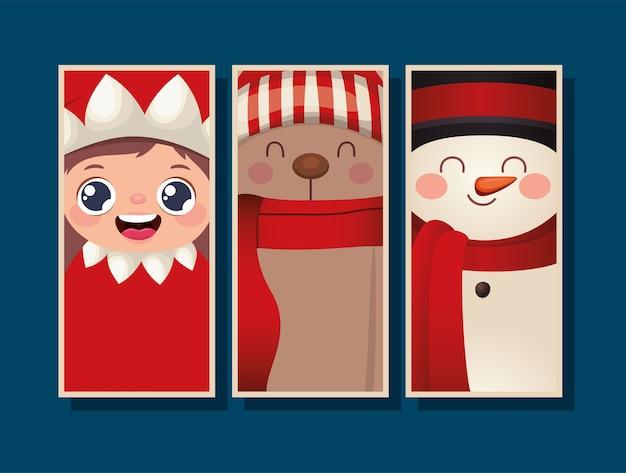 青い背景イラストのクリスマスフレームのセット