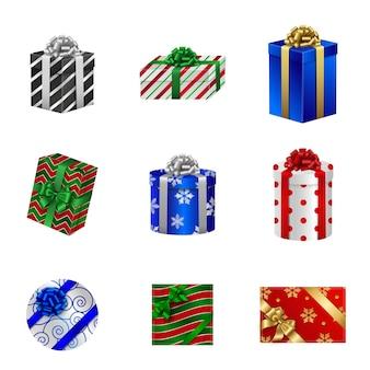 Набор рождественских подарочных коробок. вид сверху и сбоку