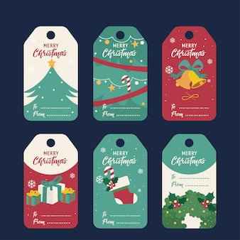 크리스마스 선물 태그 집합