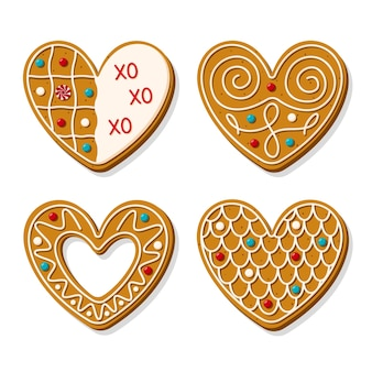 심장의 모양에 크리스마스 진저 쿠키의 집합입니다. 배경에 고립 된 설탕을 입힌 로맨틱 구운 된 상품의 집합입니다. 만화 스타일.