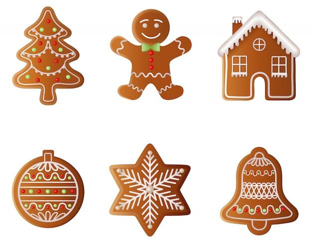 クリスマスのジンジャーブレッドのセットです。ジンジャーブレッドツリー、ジンジャーブレッドマン、ジンジャーブレッドハウス、ジンジャーブレッドボール、ジンジャーブレッドスノーフレーク、ジンジャーブレッドベル
