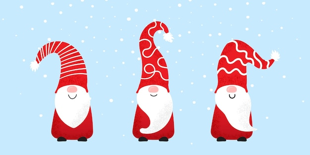 面白い帽子のクリスマスノームのセット