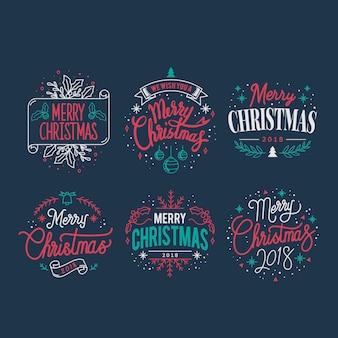 Set of Christmas greeting badge vectors