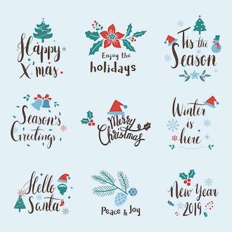 Набор векторов вектора рождественских приветствий