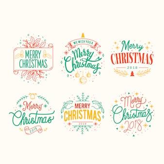 Набор значков рождественского приветствия