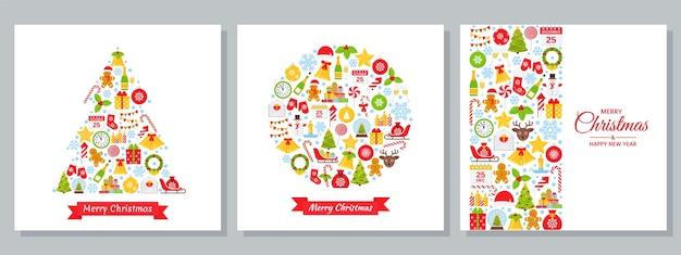 フラットなデザインのクリスマスグリーティングカードのセットです。