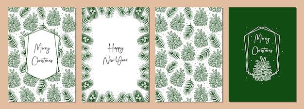 クリスマスグリーティングカードのセット。トウヒの枝、松の木の要素を持つコーン