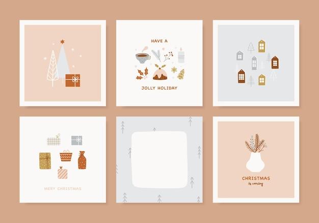 Набор рождественских открыток. вручите оттянутые шаблоны для зимнего курортного сезона. симпатичные иллюстрации и рождественская типография в стиле хюгге. коллекция векторных баннеров.