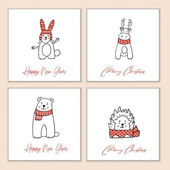 様式化された動物とクリスマスのグリーティングカードのセット