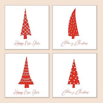 양식에 일치시키는 빨간색 장식 크리스마스 트리가 있는 크리스마스 인사말 카드 세트