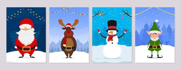 Набор рождественских открыток с зимними персонажами. санта, рождественский эльф, олень и снеговик.
