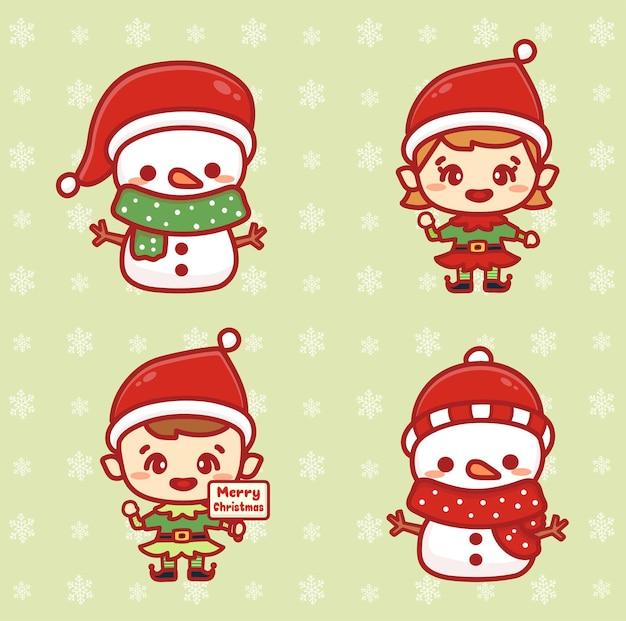 Набор рождественских счастливых детей эльфов. симпатичные помощники санта-клауса и снеговик. каваи стиль