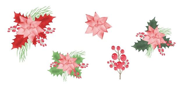 クリップアートのクリスマスホリーベリーのセットヤドリギの手描き水彩花イラスト