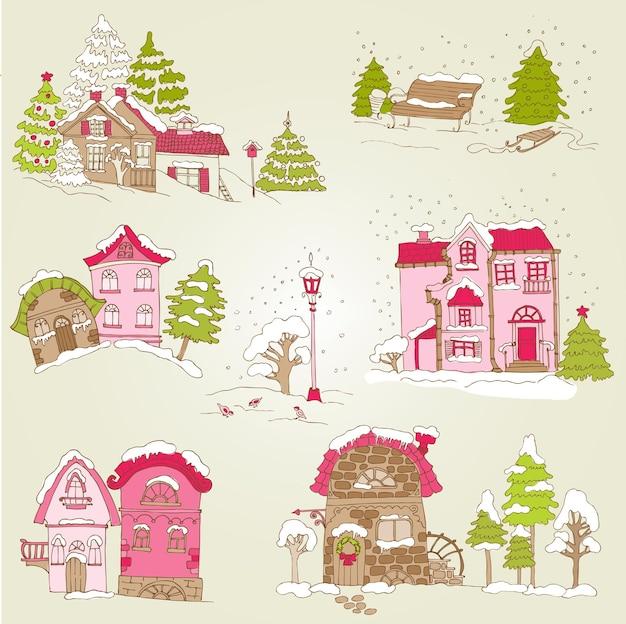 クリスマスの家のセット