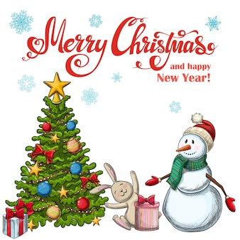 크리스마스 아이콘의 집합입니다. 장식 다채로운 스케치 스타일 크리스마스 그림입니다.