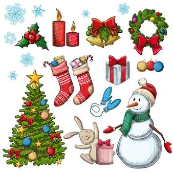クリスマスアイコンのセットです。装飾のためのカラフルなスケッチスタイルのクリスマスイラスト。