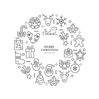 Набор рождественских иконок в форме круга на белом фоне. символы на новый год и рождество