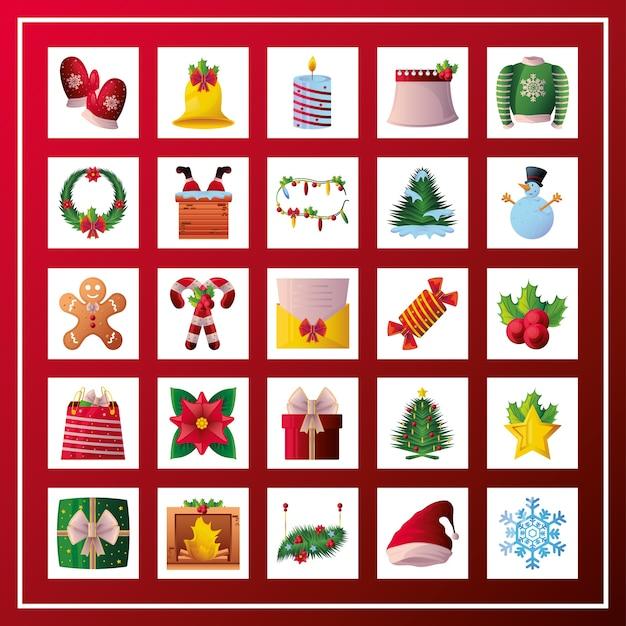 Набор рождественских иконок на красном фоне