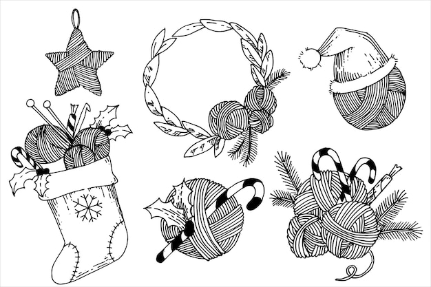 かぎ針編みのギフトを編むトピックに関する落書きスタイルのクリスマスイラストのセット