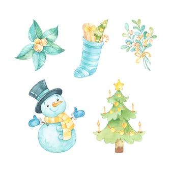 クリスマスイラストのセットです。雪だるま、クリスマスの鹿、クマ、ポインセチア。水彩イラスト