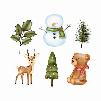 Набор рождественских иллюстраций. снеговик, рождественский олень, медведь, пуансеттия. акварельные иллюстрации