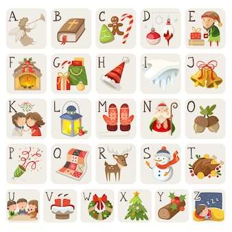 クリスマスアイテムの文字とアルファベットの状況のセット