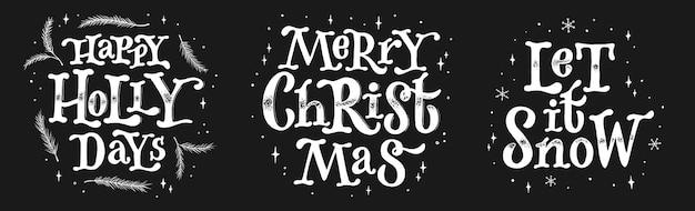 Набор рождественских надписей котировки на доске