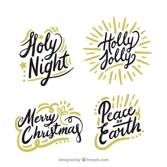 Set of christmas lettering