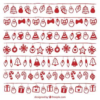 빨간 손으로 그린 개체와 크리스마스 조명 세트