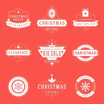 크리스마스 로고, 엠블럼, 배지 세트. 빈티지 장식품 장식.