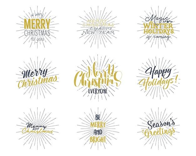 크리스마스, 새 해 글자, 소원, 명언 및 빈티지 라벨의 집합입니다.