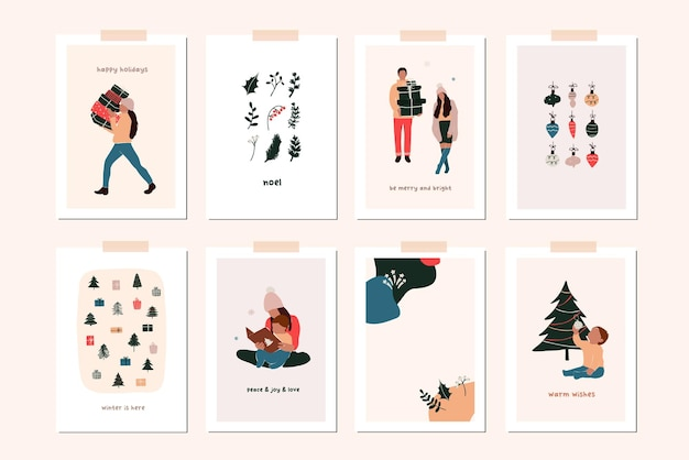家族の子供たち、クリスマスの装飾とクリスマス新年冬の休日のグリーティングカードのセット。手描きフラットスタイルでベクトル抽象的なクリスマスの人々のトレンディなイラスト