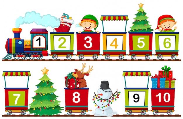 기차에 크리스마스 수의 세트