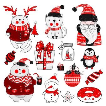 크리스마스 또는 새해 스티커 세트입니다. 흰색 바탕에 빈티지 요소의 컬렉션입니다. 메리 홀리데이.