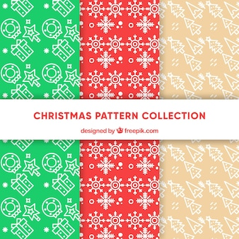 Set of christmas patterns in a simple style