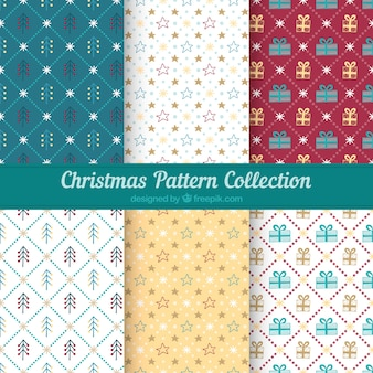 Set of christmas patterns with elements