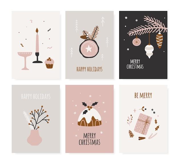 Набор рождественских плакатов. ручной обращается поздравительные открытки для зимнего курортного сезона в скандинавском стиле. симпатичные иллюстрации и рождественская типография. коллекция векторных баннеров.