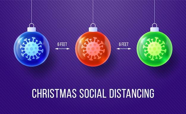 ウイルスとクリスマスの現実的なボールのセット