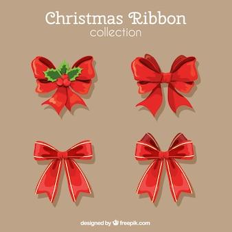Набор рождественских красные ленточки
