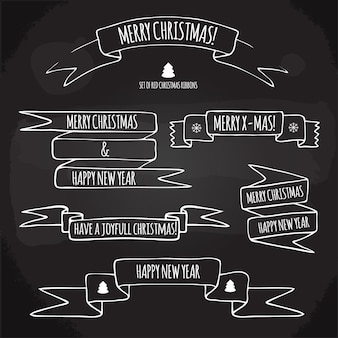 Набор рождественских лент с праздничными поздравлениями, рисованной на доске