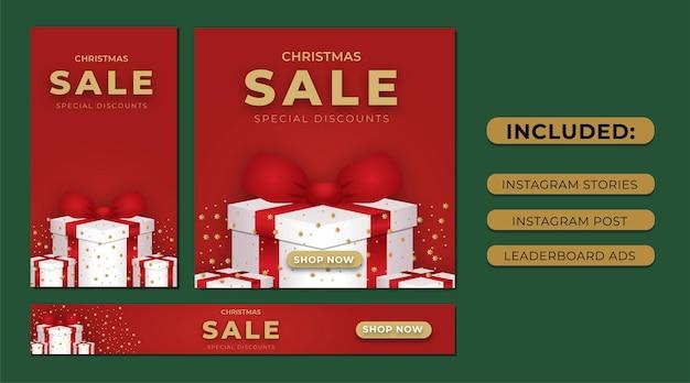 Набор рождественских продаж instagram рассказов в социальных сетях и рекламы в таблице лидеров