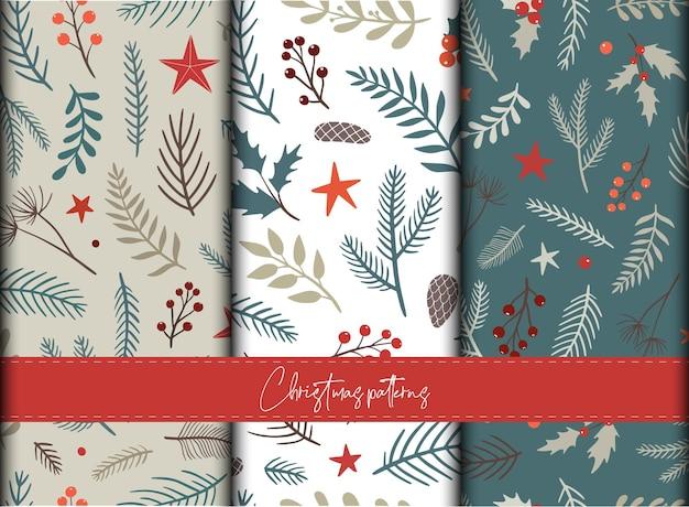 紙の装飾のためのクリスマスのシームレスなパターンのセット