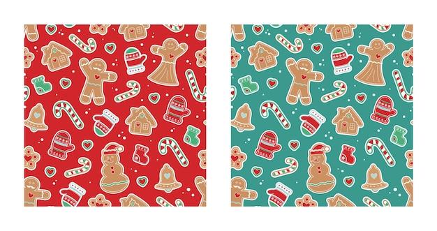Набор рождественских бесшовные шаблоны. красный и зеленый набор