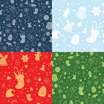 Набор рождественских бесшовные модели с рождественскими атрибутами. силуэт и контурные фигуры на красном, зеленом и синем